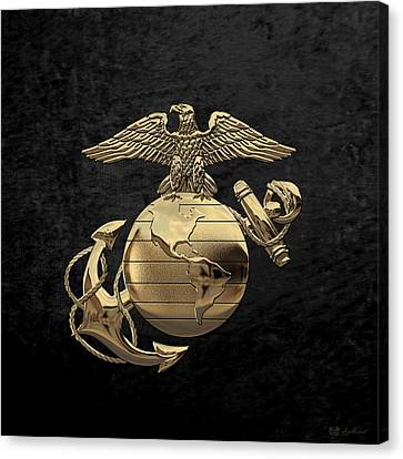 U S M C Eagle Globe And Anchor - N C O And Enlisted E G A Over Black Velvet Canvas Print by Serge Averbukh