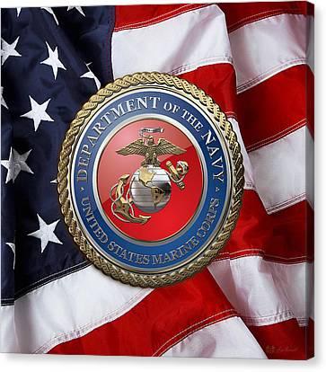 U. S. Marine Corps - U S M C Seal Over American Flag. Canvas Print by Serge Averbukh