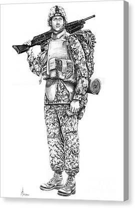 U S Marine Canvas Print by Murphy Elliott