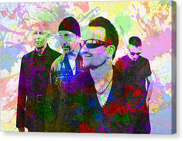 U2 Band Portrait Paint Splatters Pop Art Canvas Print by Design Turnpike