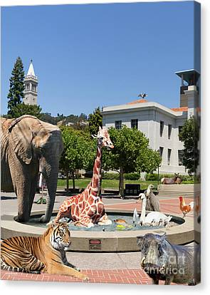 Uc Berkeley Welcomes You To The Zoo Please Do Not Feed The Animals Dsc4086 Vertical Canvas Print by Wingsdomain Art and Photography