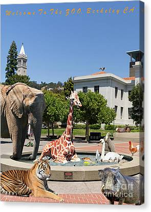 Uc Berkeley Welcomes You To The Zoo Please Do Not Feed The Animals Dsc4086 Vertical With Text Canvas Print by Wingsdomain Art and Photography