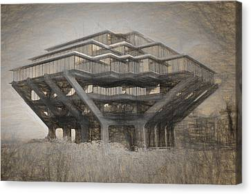 Ucsd Library Sketch Canvas Print by Nancy Ingersoll