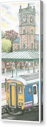 Ulverston Railway Station Clock Canvas Print by Sandra Moore