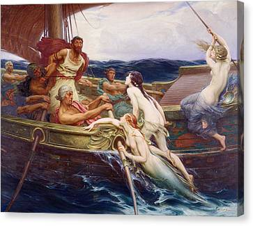 Ulysses And The Sirens Canvas Print by Herbert James Draper