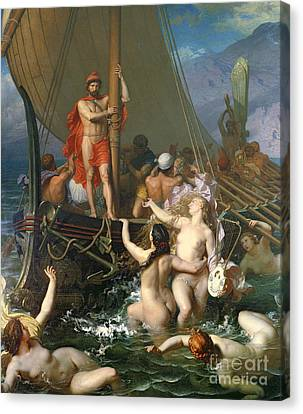 Ulysses And The Sirens Canvas Print by Leon Auguste Adolphe Belly