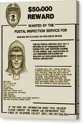 Unabomber Ted Kaczynski Wanted Poster 2 Canvas Print by Tony Rubino