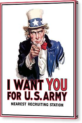 Uncle Sam -- I Want You Canvas Print by War Is Hell Store