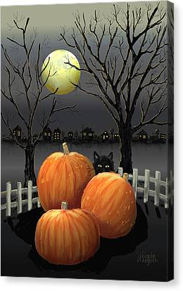 Under The Full Moon Canvas Print by Arline Wagner