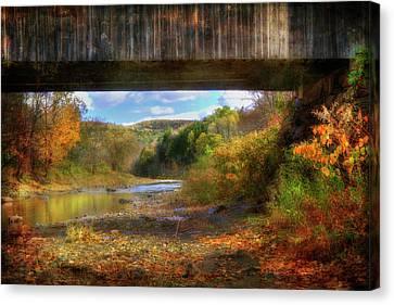 Under The Lincoln Covered Bridge - Woodstock, Vt. Canvas Print by Joann Vitali