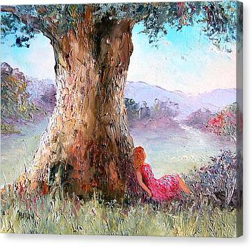Under The Old Gum Tree Canvas Print by Jan Matson