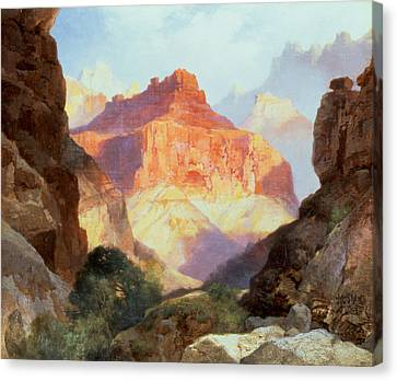 Under The Red Wall Canvas Print by Thomas Moran