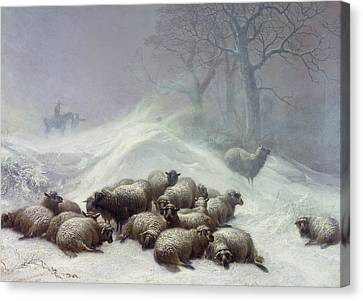 Under The Shelter Of The Shapeless Drift Canvas Print by Thomas Sidney Cooper