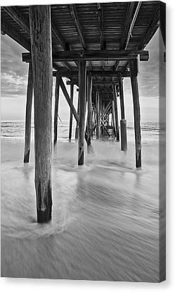Underneath The Pier At The Jersey Shore  Bw Canvas Print by Susan Candelario