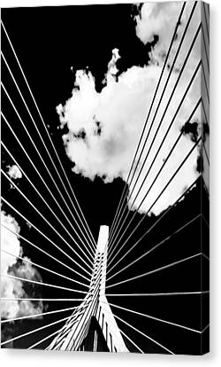 Underneath The Zakim Canvas Print by Andrew Kubica