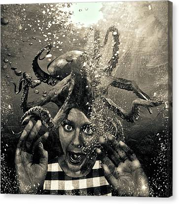 Underwater Nightmare Black And White Canvas Print by Marian Voicu