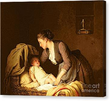 Undressing The Baby Canvas Print by Meyer von Bremen