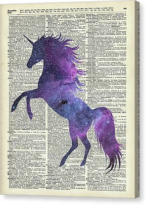 Unicorn In Space Canvas Print by Jacob Kuch