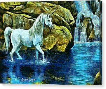 Unicorn In The River - Da Canvas Print by Leonardo Digenio