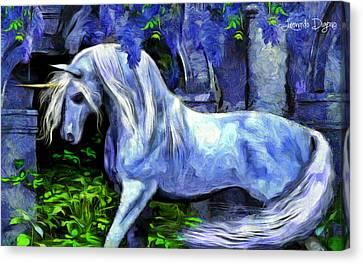 Unicorn  - Van Gogh Style -  - Da Canvas Print by Leonardo Digenio