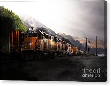 Union Pacific Locomotive At Sunrise . 7d10561 Canvas Print by Wingsdomain Art and Photography