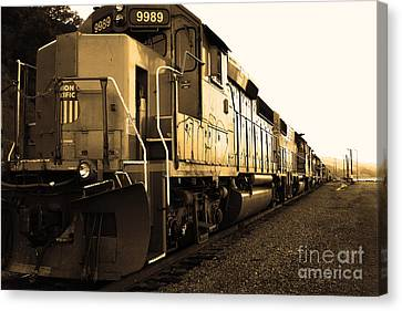 Union Pacific Locomotive Trains . 7d10588 . Sepia Canvas Print by Wingsdomain Art and Photography