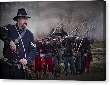 Union Soldier Reenactors Canvas Print by Randall Nyhof