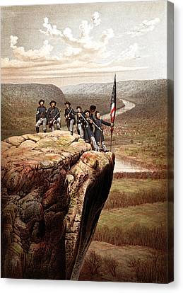 Union Soldiers On Lookout Mountain Canvas Print by War Is Hell Store