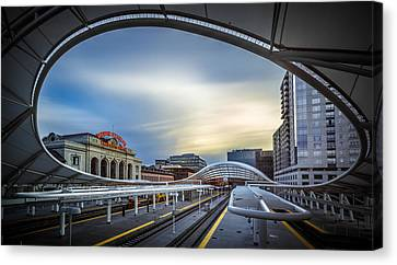 Union Station Denver - Slow Sunset Canvas Print by Jan Abadschieff