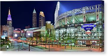 Unique City And Stadium View Canvas Print by Frozen in Time Fine Art Photography