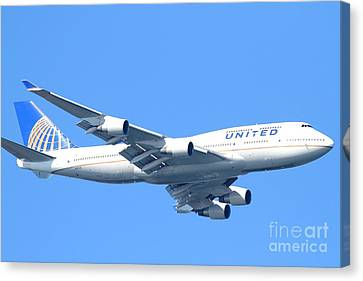 United Airlines Boeing 747 . 7d7852 Canvas Print by Wingsdomain Art and Photography