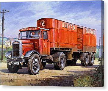 United Dairies Scammell. Canvas Print by Mike  Jeffries