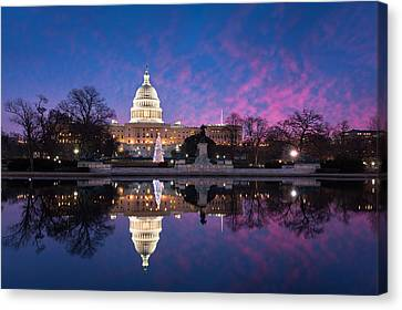 United States Capitol Building Christmas Tree Reflections Canvas Print by Mark VanDyke