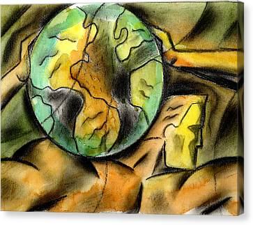 Man And The Universe  Canvas Print by Leon Zernitsky