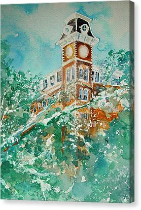 Ice On Old Main Canvas Print by Robin Miller-Bookhout
