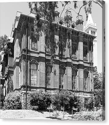 University Of California Berkeley Historic South Hall And The Campanile Dsc4058 Square Bw Canvas Print by Wingsdomain Art and Photography