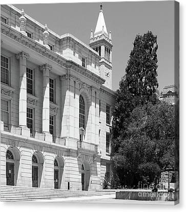 University Of California Berkeley Ide Wheeler Hall South Hall And The Campanile Dsc4066 Sq Bw Canvas Print by Wingsdomain Art and Photography