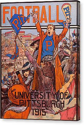 University Of Pittsburgh  Football Program 1915 Canvas Print by Mountain Dreams