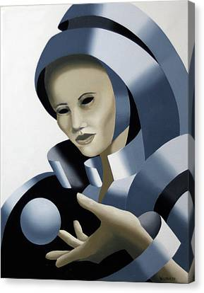 Untitled Futurist Mask Oil Painting Canvas Print by Mark Webster