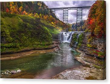 Upper Falls In Fall Canvas Print by Mark Papke