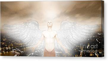 Male Angel Canvas Print featuring the mixed media Urban Angel by Carrie Jackson