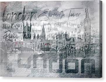 Urban-art London Houses Of Parliament And Red Buses I Canvas Print by Melanie Viola
