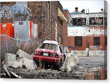 Urban Exploration War Zone Montreal Canvas Print by Reb Frost