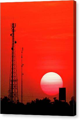 Urban Sunset And Radiostation Tower Silhouettes Canvas Print by Rosita So Image
