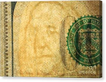 Us 100 Dollar Bill Security Features, 4 Canvas Print by Ted Kinsman