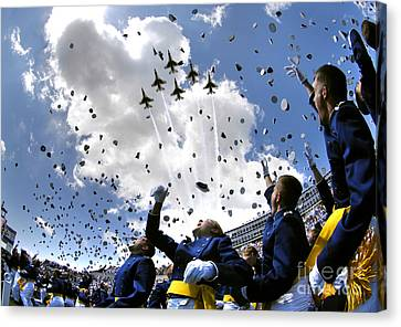 U.s. Air Force Academy Graduates Throw Canvas Print by Stocktrek Images