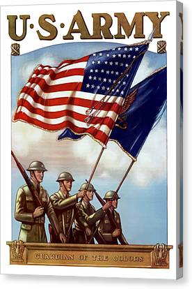 Us Army -- Guardian Of The Colors Canvas Print by War Is Hell Store