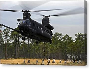 U.s. Army Special Forces Fast Rope Canvas Print by Stocktrek Images