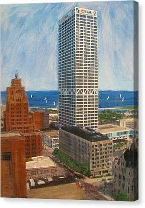 Us Bank And Sailboats Canvas Print by Anita Burgermeister