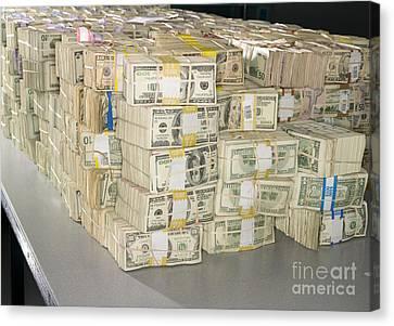Us Bills In Bundles Canvas Print by Adam Crowley